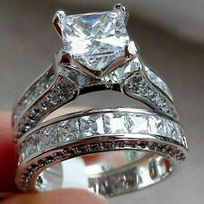 4.23ct Princess cut Diamond Engagement Ring Wedding Band Solid 14k White Gold
