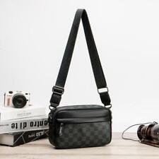 Men Small Leather plaid Shoulder Fashion zipper versatile handbags Zipper black