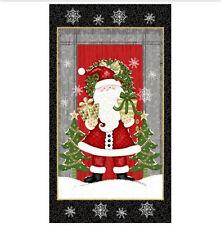 "Christmas Santa Claus Snowflake Fabric Studio E 4210P Winter Greetings 24"" Panel"