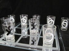 Tic Tac Toe Drinking Game Mirror Board 10 Shot Glasses College Party Fun