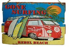 Gone Surfing Rebel Beach Retro Style Wall Sign/Plaque Surf VW Vintage Style