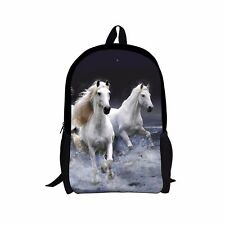 Boys Girls Backpacks Horse School Bags White Design Shoulder Rucksack Satchel