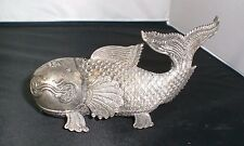 BESAMIM /STERLING SILVER FISH BOX / FRENCH INDO-CHINA /JUDAICA SPICE/ 1920