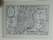 RARE - Miniature John Speed Map of Ireland, Reproduction 20thC Unframed