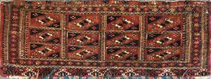 "10"" x 36"" Amazing Antique Turkoman Torba bag face Oriental Rug, Excellent #17024"