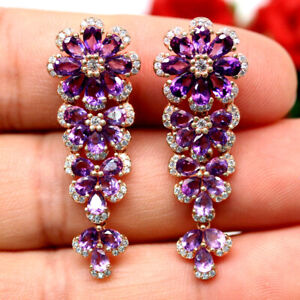 NATURAL PURPLE AMETHYST & WHITE CZ EARRINGS 925 SILVER STERLING