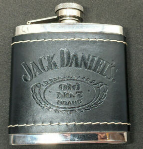 """2009 Jack Daniels """"Old No 7"""" Brand Stainless Steel Leather Wrapped 5 oz Flask"""