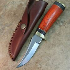 "8"" Round Wood Skinner Hunting Knife Pakkawood Handle, Leather Sheath DH-8003 -TH"