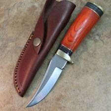 "8"" Round Wood Skinner Hunting Knife Pakkawood Handle, Leather Sheath DH-8003"