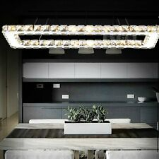 Modern Rectangular Ceiling Fixtures Genuine Crystal Chandeliers Light Lamp BR