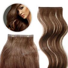 5 Remy Echthaar Strähnen 30 cm Tape Extensions 8 cm Haarverlängerung Glatt #30