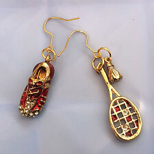 WOMENS Ladies Golden Red Sport Shoes Badminton Rheinstones Dangle Hook Earrings