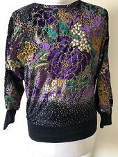 Vintage Miss Astor Multicoloured Velour Floral Batwing Jumper Size S UK 8-10