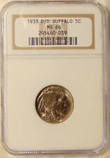 1938-D/D Buffalo Nickel - NGC MS66 - Pretty Choice GEM BU Coin - FREE SHIPPING