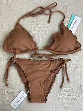 NEW Seafolly Stardust Slide Tri Top Brazilian Tie Side Bikini Set Bronze Size 10