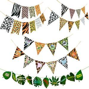Animal Birthday Banner Safari Jungle Themed Bunting Flag Banner Party Decoration