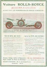 """""""ROLLS-ROYCE"""" Annonce originale entoilée LA VIE AUTOMOBILE 1911  26x35cm"""