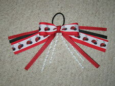 """NEW """"RED LADYBUGS"""" Pony Tail Bows Girls Ribbon Hair Bows Cheer Streamers"""