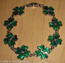 Genuine Paua Sea Shell Green Shamrock Bracelet