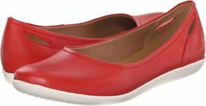 Clarks Women's RED Snake Helina Alessia Slip On Shoes Ret $84.99 New Leather NIB