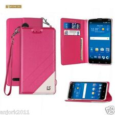 Hot Pink Folio Case w/Magnetic Cover for ZTE ZMax Pro Z981 Blade X Max Z983