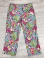 Lilly Pulitzer Womens Pants Size 4 Cropped Capri Patchwork Floral Paisley Blue