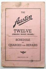Vintage Austin Twelve Girling Brake Model Schedule For Repairs 1937