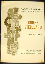 Affiche exposition Gravures de  Roger Vieillard 17 octobre 1969 Sagot Le Garrec