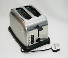 Silver 900W Two Slice Wide Slot Toaster Fast Quick Toast Defrost Reheat Function