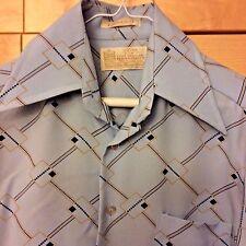 Vintage 70's Kings Road Disco Men's Blue Geometric Polyester Long Sleeve Shirt S