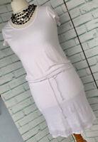 WHITE COMPANY White Stretch Linen Summer Beach Dress Sz S Small 8 - 10 UK / b34