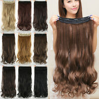 Womens Natural One Piece Clip In Full Head Hair Extentions Thick Long Curly Wavy