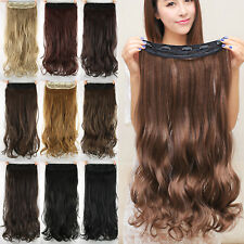 Womens Clip In Hair Pieces Curly Ponytail Real Natural Long Thick Full Colors