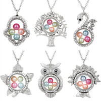Tree of Life Living Memory Floating Pendant Pearl Cage Glass Locket Necklace