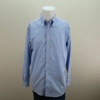 Brooks Brothers Blue Non-Iron Supima American Cotton Striped Madison Shirt Men M