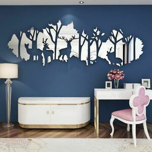 Mirror 3D Wall sticker Forest Deer Acrylic Room Personalized Interior Decoration