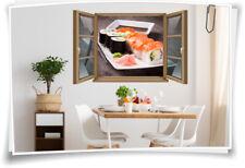 Fliesen-Aufkleber Fliesen-Bild Fenster Sushi Reis Fisch Wasabi Stäbchen Japan