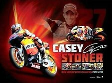 CASEY STONER DUAL MOTO GP WORLD CHAMPION PRINT  FACSIMILE SIGNATURE