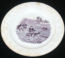 ANTIQUE STAFFORDSHIRE MULBERRY TRANSFER CHILDRENS CHILDS ABC HUNT SCENE PLATE