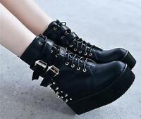 Women's Creeper Wedge Heels Boots Black  Buckle Rivet  Ankle Boots Shoes Size