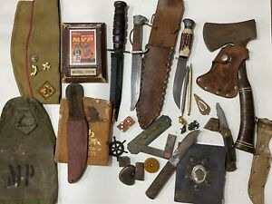 Vtg Fixed Blade Military Hunting Knife Knives RH Pal Estate Lot CASE CAMILLUS