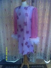 Drag Queen Pink Glitter SHORT dress with white feathers  20/22