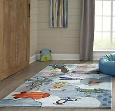 Momeni Rug Lil' Mo Whimsy Collection 4x6 Kids Childrens #LMJ10 Airplanes Flying!