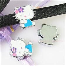 4 Blue Cat Crystal Rhinestone Slide Beads For Wristband DIY Bracelet Charms 15mm