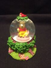 Disney Retired Winnie the Pooh Mini Snow globe w/ Red Robin in Nest on Top
