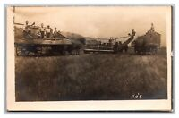 Farming Horses Wagons Wheat Straw Hay? RPPC Real Photo Postcard 1904-18