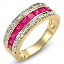 Band Jewelry Size 8 Luxury Halo Ruby 18K Gold Filled Engagement Ring For Women's