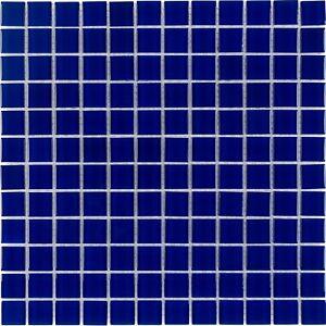 Classic Uniform Squares Blue Glass Mosaic Tile Backsplash Kitchen Wall MTO0295