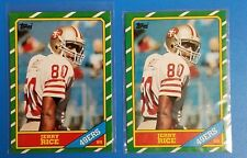Jerry Rice 1986 Topps Rookie Cards #161 2 Card Lot San Francisco 49ers