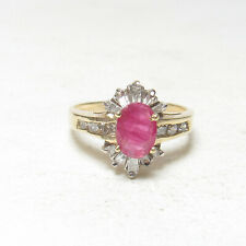 Estate 14K Yellow Gold 1.10 Ct Natural Oval Rose Red Ruby And Diamond Ring